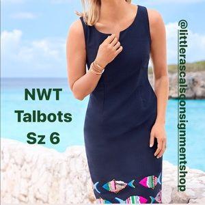Talbots sequin embroidered fish sheath dress Sz 6